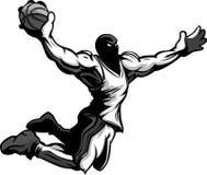 Het Onderdompelende Basketbal van het Beeldverhaal van de Speler van het basketbal royalty-vrije illustratie