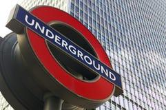Het ondergrondse teken van Londen Stock Foto