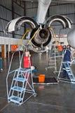 Het onderhoud van vliegtuigen Stock Foto's