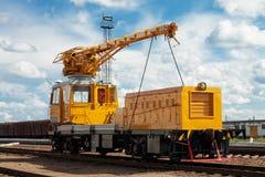 Het onderhoudstrein van de spoorweg Stock Foto
