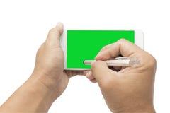 Het ondertekenen op mobilofoon Royalty-vrije Stock Afbeeldingen