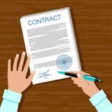 Het ondertekenen van een contract royalty-vrije illustratie