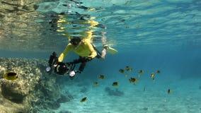 Het onderwaterfotograaf snorkelen Royalty-vrije Stock Afbeelding