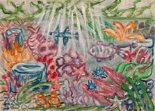 Het onderwaterwereld abstracte schilderen Stock Fotografie