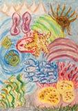 Het onderwaterwereld abstracte schilderen Stock Afbeeldingen