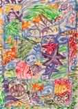 Het onderwaterwereld abstracte schilderen Stock Foto's