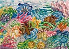 Het onderwaterwereld abstracte schilderen Royalty-vrije Stock Foto's