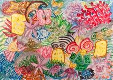 Het onderwaterwereld abstracte schilderen Royalty-vrije Stock Afbeeldingen