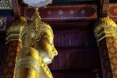 Het onderwerpen van Mara Buddha-beeld van Wat Nah Phramen (Zijde 3) Stock Afbeelding