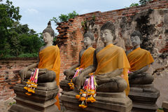 Het onderwerpen van Mara Buddha-beeld in Wat Putthaisawan Stock Afbeelding
