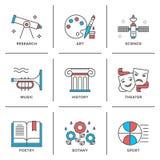 Het onderwijs onderwerpt geplaatste lijnpictogrammen stock illustratie