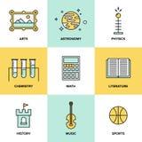 Het onderwijs onderwerpt vlakke pictogrammen Royalty-vrije Stock Fotografie
