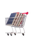 Het onderwijsconcept met boeken op wit Stock Foto
