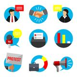 Het OnderwijsdieTeken van de democratieverkiezing met Politicus And Megaphone wordt geplaatst Royalty-vrije Stock Foto's
