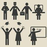 Het onderwijspictogrammen van de mensenwetenschap stock illustratie