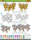 het onderwijsspel van de wiskundetoevoeging met voorwerpen vector illustratie