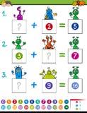 Het onderwijsspel van de wiskundetoevoeging met vreemdelingen royalty-vrije illustratie