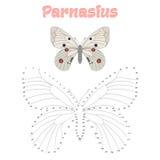 Het onderwijsspel verbindt punten om vlinder te trekken Stock Afbeeldingen