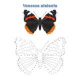 Het onderwijsspel verbindt punten om vlinder te trekken Stock Fotografie