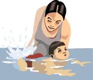 Het onderwijzen om te zwemmen Stock Afbeelding
