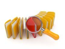 Het onderzoek van de omslag en van het dossier met vergrootglas. 3D Royalty-vrije Stock Afbeelding