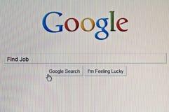 Het onderzoek van Google dat wordt gebruikt om baan op Internet te vinden. Stock Foto