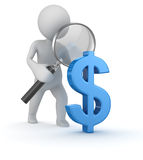 Het onderzoek van het dollarteken Stock Foto