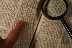 Het onderzoek van het woordenboek Stock Foto's