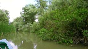Het onderzoeken van de Delta van Donau stock footage