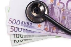 Het onderzoeken van Euro Stock Afbeelding