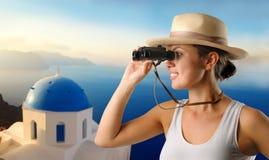 Het onderzoeken van Santorini Stock Fotografie