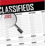 Het onderzoeks classifieds achtergrond van banencarrières stock illustratie