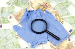 Het onderzoeksachtergrond van het geld Royalty-vrije Stock Foto's