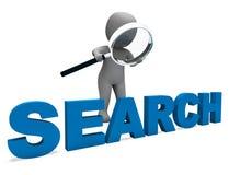 Het onderzoekskarakter toont Internet en Online Onderzoek vindt Stock Fotografie