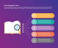 Het onderzoeksonderzoek van het boekonderzoek infographic met het malplaatjebanner van vergrootglasgegevens voor informatiestatis vector illustratie