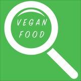 Het onderzoekspictogram van het veganistvoedsel op groene achtergrond royalty-vrije illustratie