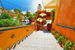 Het ongelooflijke eiland van Santorini van het meningenterras Stock Fotografie
