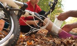 Het ongeval van Biking Stock Foto