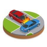 Het ongeval van de auto De neerstorting van de auto Vlakke 3d Vector isometrische illustratie vector illustratie