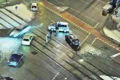 Het ongeval van de auto in de sneeuw Stock Fotografie