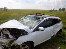 Het ongeval van de auto Gebroken auto met neerstortingswindscherm Stock Afbeelding
