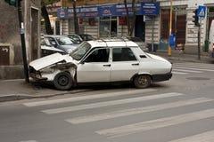 Het ongeval van de auto op zebra Royalty-vrije Stock Foto's