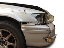 Het ongeval van de autoneerstorting op de weg Royalty-vrije Stock Foto's