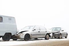 Het ongeval van de de autoneerstorting van de winter Stock Foto's