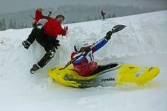 Het ongeval van de sneeuwkajak Stock Foto's