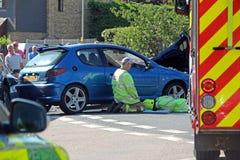 Het ongevallenscène van de noodsituatieauto Stock Foto's