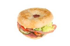Het ongezuurde broodje van de hamsalade Stock Foto