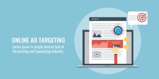 Het online advertentie richten, betaald media, het digitale richten, richt nieuw publiek, het concept van de Webreclame Vlakke on stock illustratie