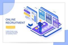 Het online baan zoeken en rekrutering, menselijk middelconcept Wij huren 3d isometrische landende malplaatje van de websitepagina vector illustratie