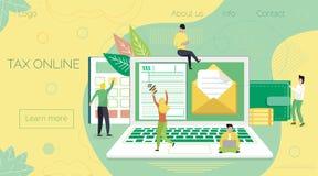 Het online concept van de belastingsbetaling, wanneer de kleine mensen die belasting zich vullen en sendin vormen vector illustratie